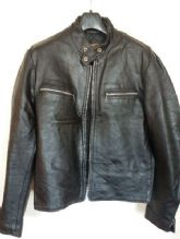 Vtg EXCELLED Black CAFE RACER Leather Motorcycle Jacket Size 40R